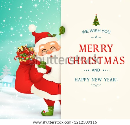 1792bb707c8d4 We Wish you a Merry Christmas. Happy new year. Santa Claus character with  big