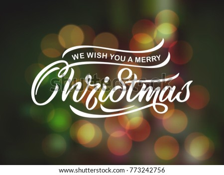 We wish you a Merry Christmas vector text Calligraphic Lettering design card template. Merry Christmas Calligraphic handmade lettering.