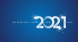 We wish You Happy New Year 2021 silver modern design numbers blue greeting card
