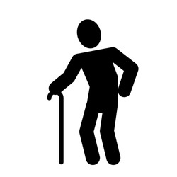 Weak hunched old man with a cane black silhouette flat vector icon, old man icon, old man pictograph, old man simple flat vector icon