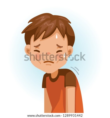Weak little boy. Slim, fatigue, discomfort and fatigue. Sad boy.The face expresses regret. Child lament standing. Looking straight at you. Vector cartoons and illustrations isolated on white.