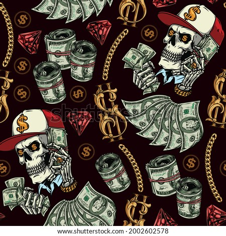 Wealth and money seamless pattern with gold chains dollar signs and banknotes red diamonds skull in baseball cap and skeleton hand with precious decorations holding dollar bills vector illustration