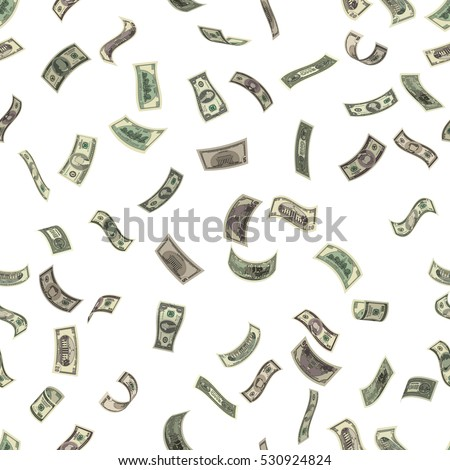 Wealth and success symbol - falling money, isolated on white background. Cartoon flying dollar bills every denomination in the air. Vector illustration