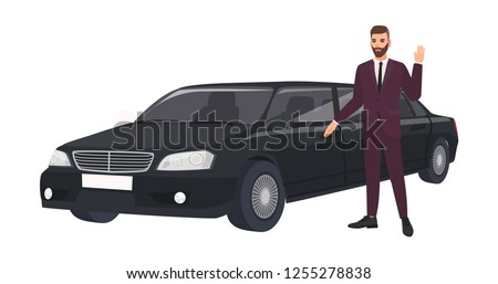 Wealthy man in elegant suit standing beside luxury limousine and waving hand. Rich person or male celebrity and his luxurious car or automobile. Colorful vector illustration in flat cartoon style.