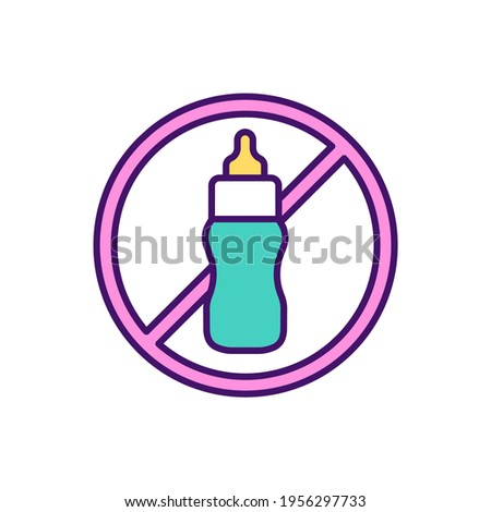 Weaning from bottle process RGB color icon. Stopping baby breastfeeding. Optimal nutrition form in infancy. Choosing child feeding method. Bottle-fed babies. Isolated vector illustration Stock photo ©