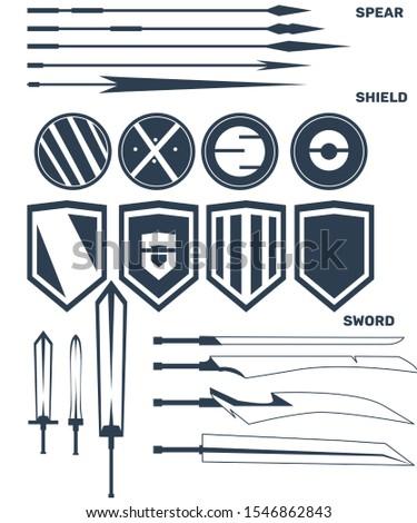 Weapon bundle with vector, spear set, sword set, shield set