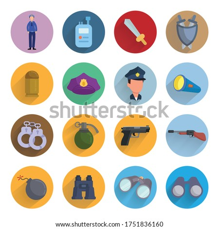 weapon flat icon set with long