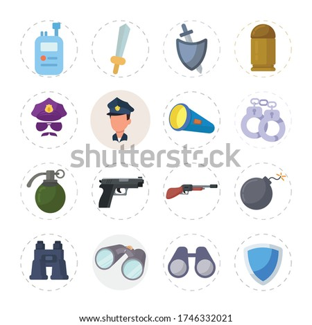 weapon flat icon set with