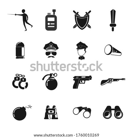 weapon icon set with police