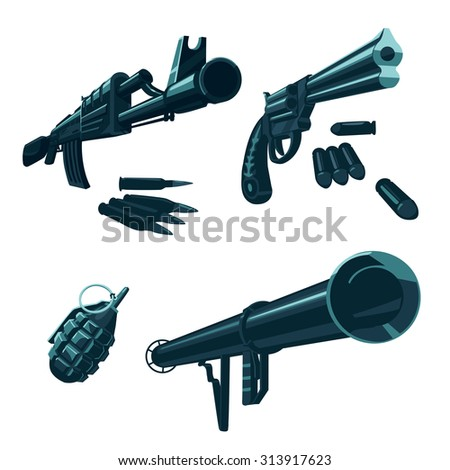 weapon icons isolated on white