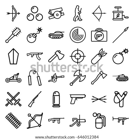 weapon icons set set of 36