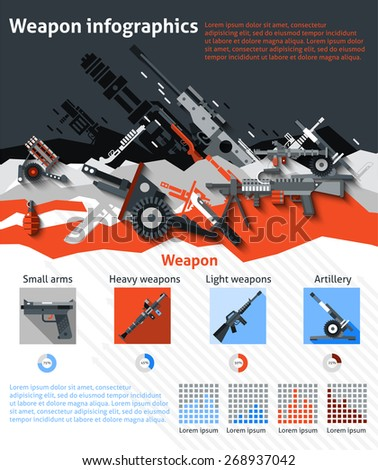 weapon infographics set with
