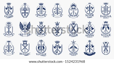 Weapon logos big vector set, vintage heraldic military emblems collection, classic style heraldry design elements, ancient knives spears and axes symbols.