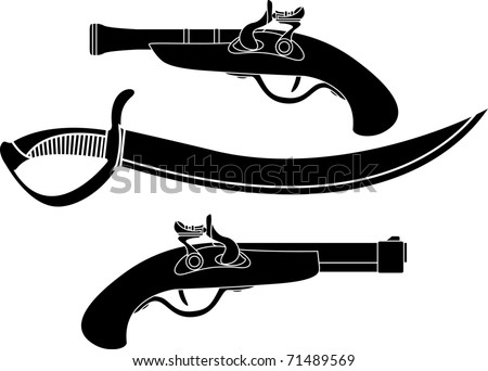 weapon of pirates. stencil. vector illustration