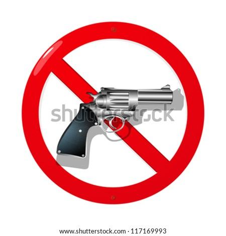 Weapon restriction sign in 3D. Isolated and grouped objects over white background