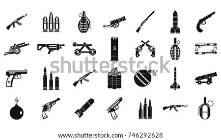 weapons ammunition icon set