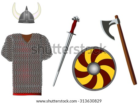 weapons and armors set of