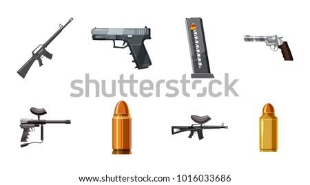 weapons icon set cartoon set