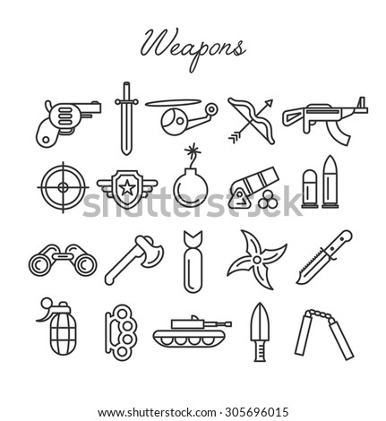 weapons icon set in modern