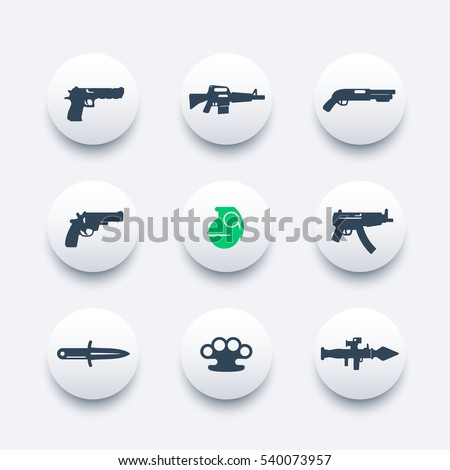 weapons icons set  pistol