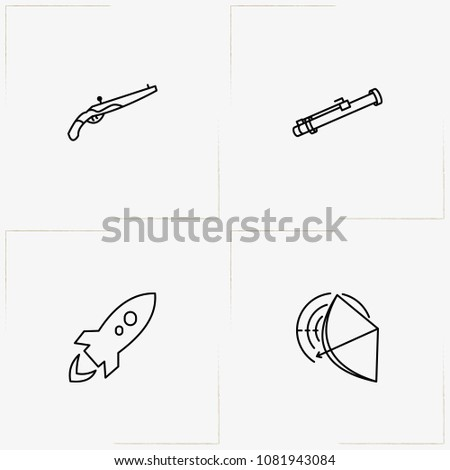 weapons line icon set with