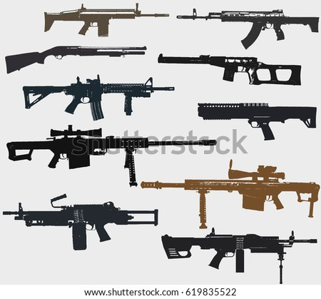 weapons set  rifles  machine