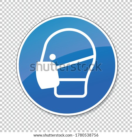 Wear a face mask or makeshift mask for coronavirus pandemic, mandatory sign or safety sign, on checked transparent background. Vector illustration. Eps 10 vector file. Stock foto ©