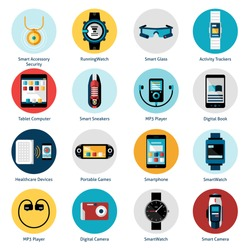 Wearable technology icons set with smart accessory running watch activity trackers isolated vector illustration