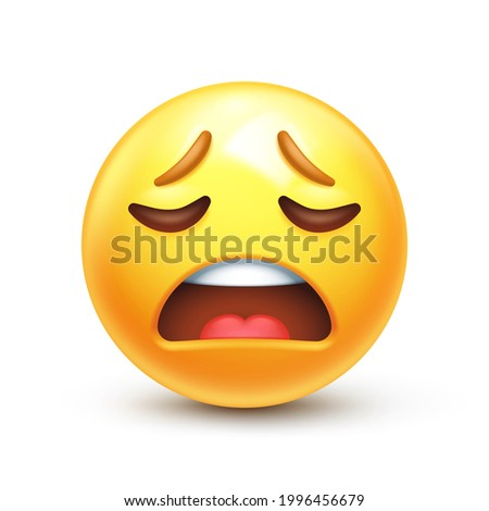 Weary emoji. Wailing emoticon, tired yellow face with frowning mouth 3D stylized vector icon Stock photo ©