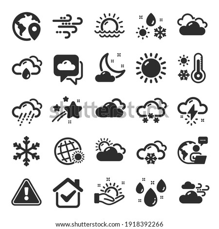 Weather and forecast icons. Cloudy sky, winter snowflake, thermometer. Moon night, rain and sunset icons. Weather temperature, meteorology forecast and wind, thunder bolt. Flat icon set. Vector