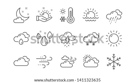Weather and forecast line icons. Cloudy sky, winter snowflake, thermometer. Moon night, rain and sunset icons. Weather temperature, meteorology forecast. Linear set. Vector