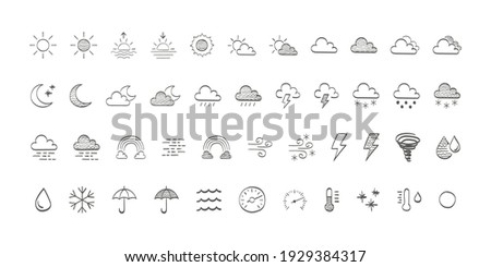 Weather and meteorology icons. Drawn weathers icons. Weather icons sun and clouds in sky, rain with snow, thunder and lightning. Vector illustration Foto stock ©