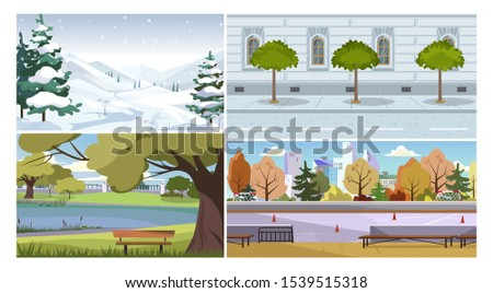 Weather and season vector illustration set. Winter mountain landscape, traditional city building facade with rain, summer park, autumn stadium. Seasons concept