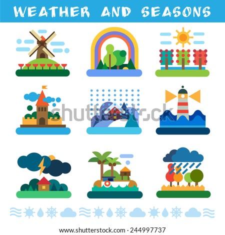 Weather and seasons. Rain, wind, storm, sun, clouds, snow, fog. Vector flat illustrations