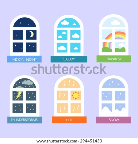 weather and window icons vector