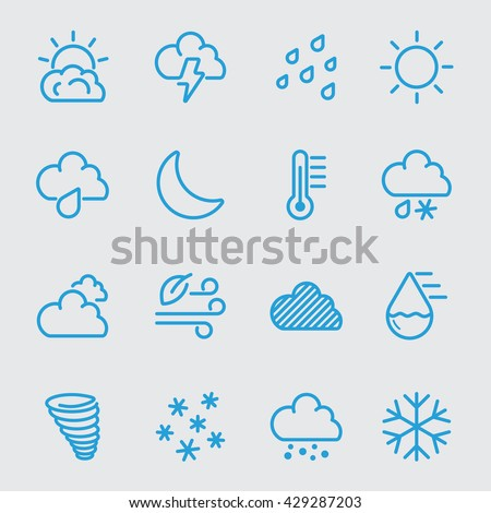 Weather blue color line icon