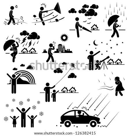 Weather Climate Atmosphere Environment Meteorology Season People Man Stick Figure Pictogram Icon