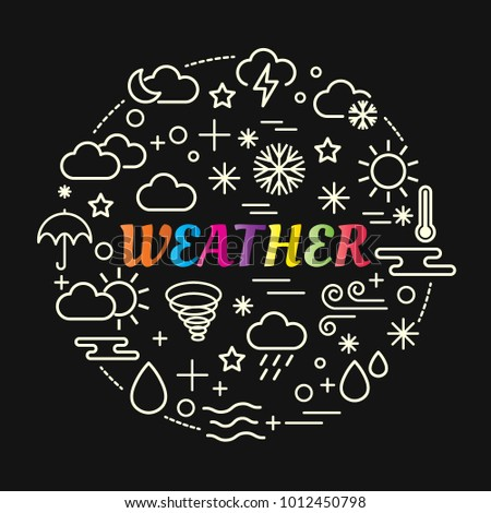 weather colorful gradient with line icons set, vector editable stroke