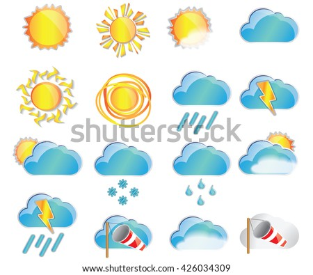 weather colorful  icons, Meteorology Set; Vector Illustration. Sun, cloud, heat, rain, storm, fog, wind symbols
