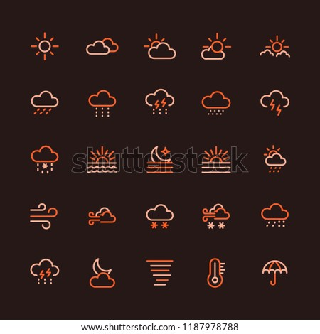 Weather Conditions Multicolored Line Icon Set