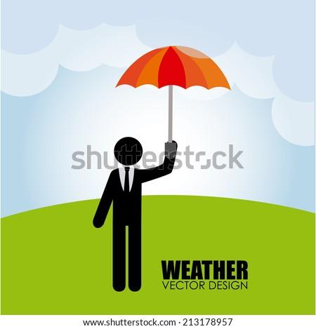 Weather design over landscape background, vector illustration