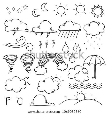 Weather Doodle Vector Set.