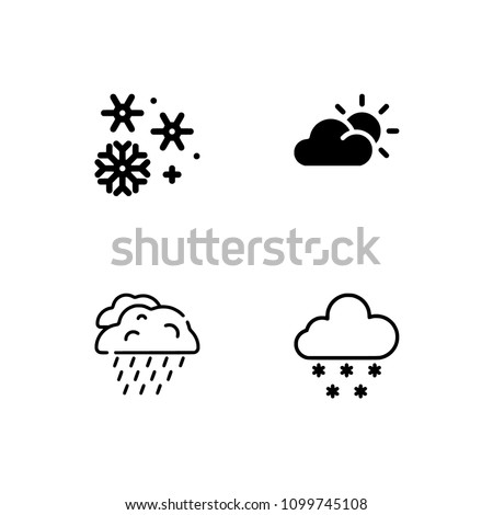 Weather. EPS 10 vector format. Professional pixel perfect black & white icons optimized for both large and small resolutions. Transparent background