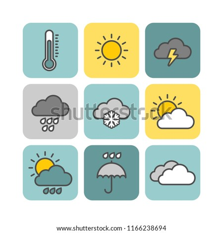 Weather flat vector icons set
