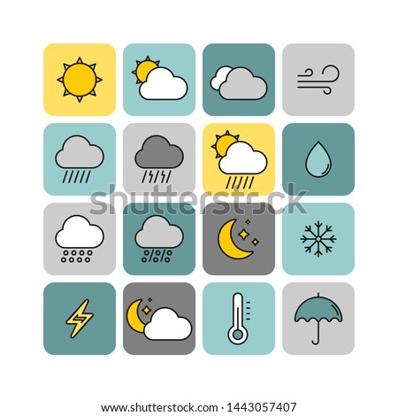 Weather flat vector icons set. Weather forecast icons