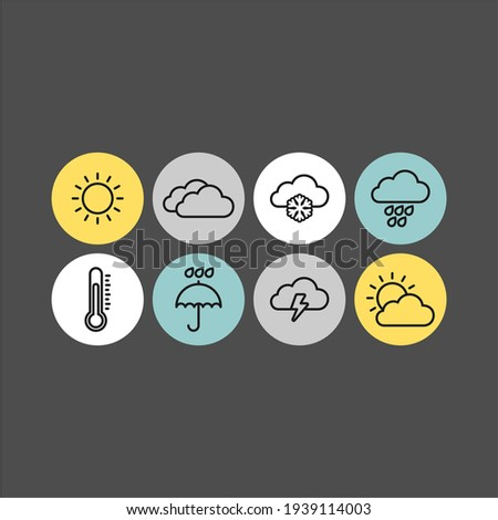 Weather flat vector icons set. Weather forecast icons Foto stock ©