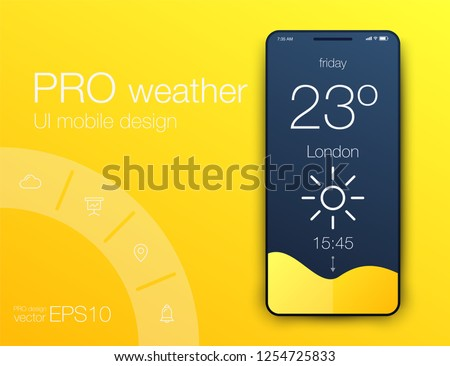Weather Forecast App Ux Ui Design. Stock vector eps
