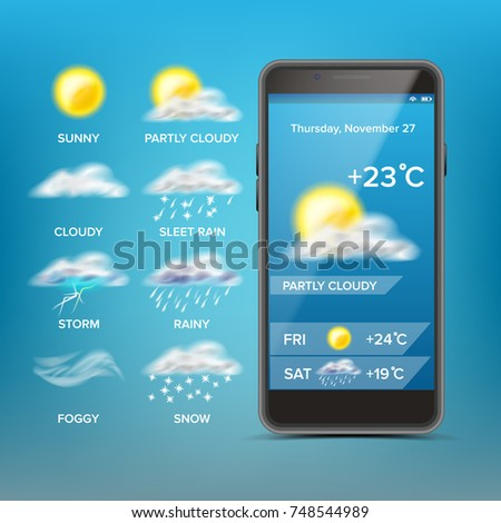Weather Forecast App Vector. Blue Background. Application Of Science And Technology. State Of The Atmosphere. Illustration