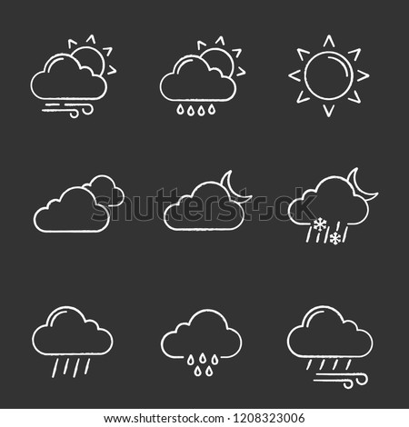 Weather forecast chalk icons set. Partly cloudy and windy weather, drizzle rain, sun, clouds, night, pouring and drizzle rain, wind, overcast, sleet. Isolated vector chalkboard illustrations
