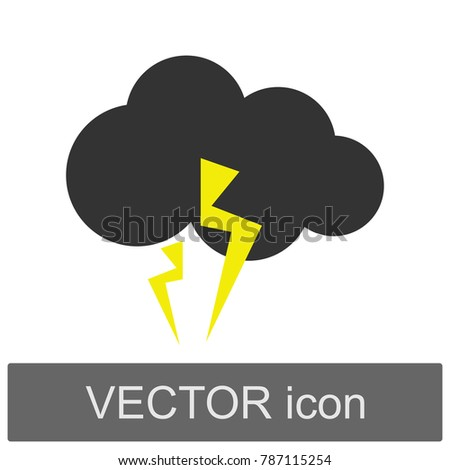Weather forecast cloud lightning vector image icon